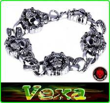New Bracelet SKULLS Stainless Steel Style Gothic Punk Emo Rock Wristband SK01