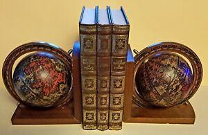 serre livres mappemonde globe terrestre bois et métal + 3 livres