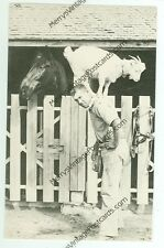 """MAN WITH GOAT ON HIS BACK-HORSE WATCHING-B/W-1987 4""""X6""""-(GOAT-88*)"""