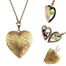 Woman Man Bronze Heart DIY Photo Locket Open Pendant Long Chain Necklace KZ