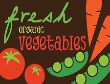 "TIN SIGN ""Fresh Organic Vegetables""  Farm  Art Deco Garage Wall Decor"