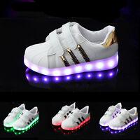 Kinder Klettverschluss LED Licht Farbwechsel Breath Schuhe Sneaker Blinkschuhe