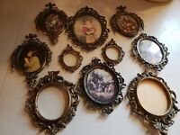 Vintage - Antique Small Cast Metal Ornate Picture Frames Stamped Italy Set Of 10