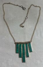 """GT Metal Chain Two Tone Green Striped Bead Rectangle Dangle Pendant 21""""Necklace"""