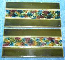 "2 azulejos de cerámica Mayólica Antigua Vintage Retro 6""x3"" Verde Oliva & Multi Bandas"