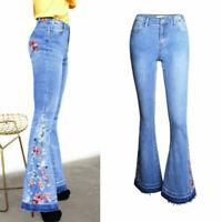 Women High Waist Flare Denim Embroider Jeans Bell Bottom Stretch Pants Trousers
