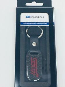 Subaru STI Logo Carbon Fiber Keychain fob Impreza Legacy Outback OEM Genuine WRX