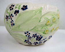 Hand-painted Planter Vase Container RC Portugal Violets Yellow Bells Flowers 4""