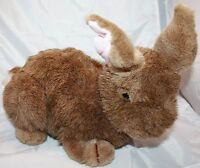 "Charm Co Plush EASTER BUNNY RABBIT 14"" Brown Pink Ears Lying Stuffed VTG 1985"