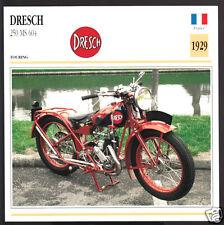 1929 Dresch 250cc MS 604 France Motorcycle Photo Spec Sheet Info Stat Atlas Card