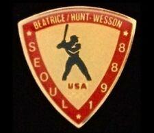 Baseball Olympic Pin Badge ~ Seoul 1988 ~Beatrice Hunt Wesson~Sponsor