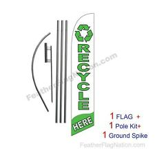 Recycle Here 15' Feather Banner Swooper Flag Kit with pole+spike