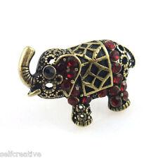 Vintage Style Bronze Rhinestone Retro Animal Elephant Ring Size 6 Women Jewelry