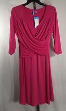 NEW Pink Dress PL Double Wrap Lined 3/4 Sleeve Knee Length B-Slim