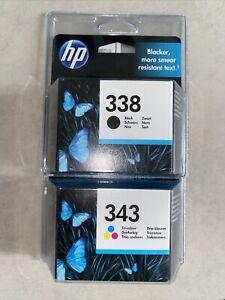 Original HP Cartouche d'encre noir&couleurs 338 & 343 Tricolore Neuf Val: 11/21