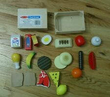 Melissa & Doug Food Groups 20 Hand-Painted Wooden Pieces and 2 Crates Kids Toys