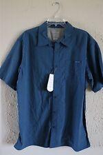 Merrell 30+ UPF, opti-wick Button Down Short Sleeve Men's Shirt - Size XL - Blue