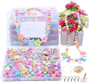 Children DIY Beads Set, Anbaituor 500pcs Pop Beads for Jewellery Necklaces Kit,