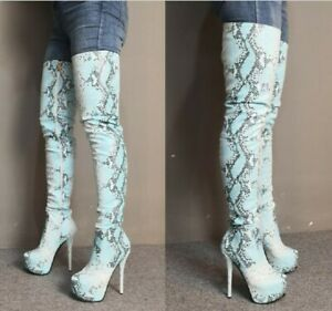 Snakeskin Print Over The Knee Women Tall Boots Round toe Stilettos Heel Shoes US