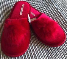 New Victoria Secret Pom Pom Slippers Red Medium 7-8