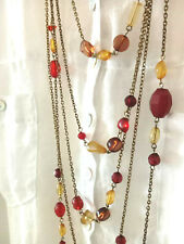 NWT Long brown tone multistrand beaded chain Necklace
