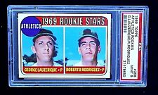 1969 TOPPS BASEBALL CARD #358 LAUZERIQUE & RODRIGUEZ ROOKIE PSA 9 NQ ATHLETICS A