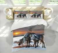 3D Reindeer Snow A144 Animal Bed Pillowcases Quilt Duvet Cover Set Queen King