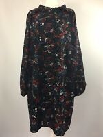 ANTHOLOGY 24 Black Floral Multi Tea Dress Long Sleeved Autumn Winter Tunic Smock