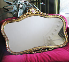 Large Vintage Ornate Gilt Crest Romantic Horizontal Mirror