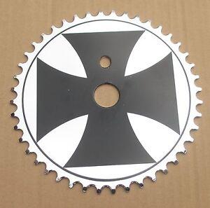 Iron Cross BMX Bike Chaining Sprocket 44 T Black On Silver