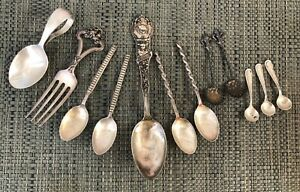Assorted Lot of Antique Victorian All Sterling Silver Spoons Flatware