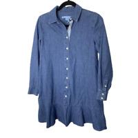 Draper James Denim Tunic Top Womens Size 0 Blue Collared Long Sleeve Shirt Dress