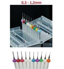 10x Mini Bohrer Set 0,3 - 1,2mm + Box Schaft 3.175mm stabil Proxxon Dremel