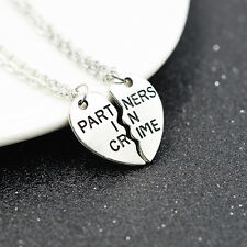 2 un. Collar de amistad socio en el crimen mejor amigo Bff cadena regalo Navidad Reino Unido