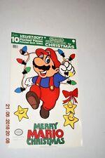 Vintage 80's Super Mario Christmas Cutout Wall Decorations Flocked NOS Nintendo