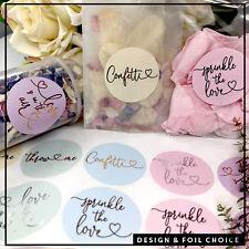 Confetti heart stickers & Glassine bags foil rose gold,silver,copper wedding x10
