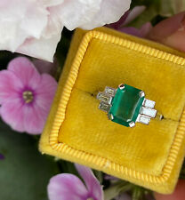 Art Deco Emerald and Diamond Platinum Ring 0.30ct + 1.90ct