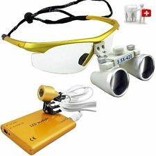 3.5 X 420mm Binocular Dental Loupes Surgical Loupes+LED Head Light Lamp UK SALE