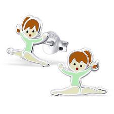 Children's Gymnastics Girl Sterling Silver 925 Ear Studs Stud Earrings & Epoxy