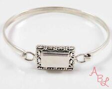 Sterling Silver Vintage 925 Engraveable Hook Bangle Bracelet 7'' (11.8g) 745524