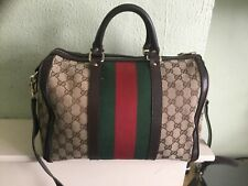 Authentic Gucci Boston Green & Red Monogram bag with detachable strap & dust bag