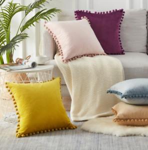 """Home Decor 18""""x18"""" Particles velvet Pom-poms Sofa Soft Cushion Cover Pillowcase"""