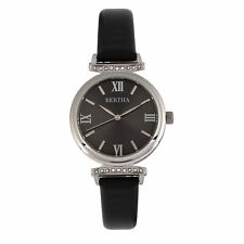 Bertha Jasmine Black Leather Silver Women's Watch BR9601