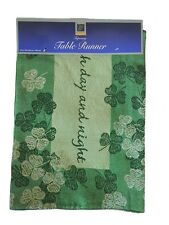 "Table Runner Green Shamrock Good Luck Tapestry 13x72"" NEW"