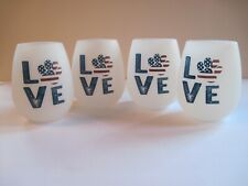 Set of 4 Shatterproof Love Paw USA Unbreakable Silicone Drink Cups Drinkware 7oz