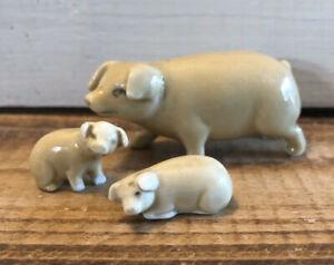 3 Piece Vintage Porcelain Miniature Pig Family Two Piglets Figurines Germany