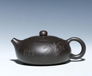 real yixing zisha tea pot marked Chinese galaxy clay xishi pot bamboo carved cup