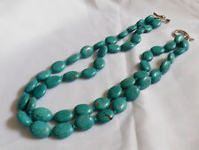 "Sterling silver 925 toggle clasp two strand Turquoise beads necklace 19""L"