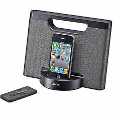 Sony RDP-M5IP 30-Pin iPhone/iPod Portable Speaker Dock (Black), NO CHARGER!