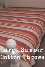 Large Cotton King Throw, Bed Cover: Orange Red Beige Stripe Sofa Bed Throw Kerla